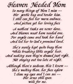 Mothers Day In Heaven Poem ... Miss you and love you always Mom ...