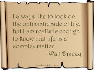 Wald Disney quote on optimism