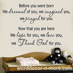 Beautiful quote for your baby nursery room decor or a baby shower gift ...