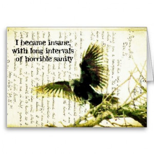 Raven With Poe Quote and Handwritting Greeting Cards