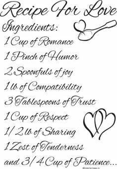 Wall Decals Recipe For Love Quote Cute