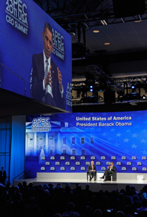 James McNerney US President Barack Obama R takes part in a panel