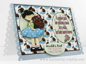 Worlds Best MOM Handmade Card, A Mother Holds Her Childrens Hands