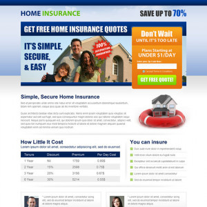 get home insurance free quote lead capture squeeze page Home Insurance ...