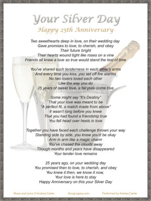 Lyric sheet for original 25th anniversary gift song Your Silver Day