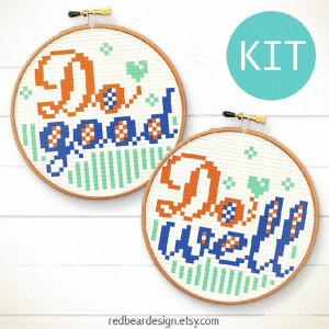 Funny Quote cross stitch pattern KIT - Do good, Do well - Home sweet ...
