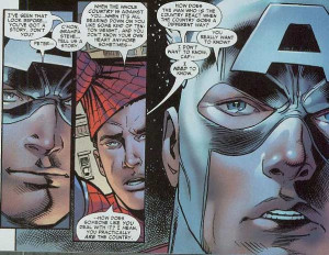 At first Spider-Man sided with Iron Man against Cap, but later ...