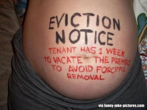 Funny Pregnancy Baby Tenant Eviction Notice Picture Image Photo Joke ...