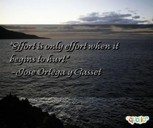 Effort is only effort when it begins to hurt .
