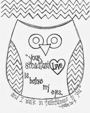 Free Valentine's Day Bible Verse Owl Coloring Page