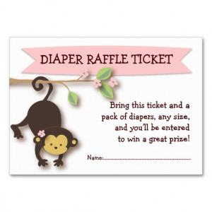 Monkey Baby Shower Diaper Raffle Ticket Insert Large Business Cards ...
