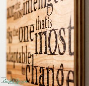 Inspirational Darwin Wall Quote Print on Wood Grain Panels ...