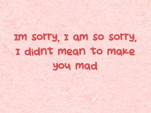 Im Sorry I Am So Sorry I Didn't Mean To Make You Mad