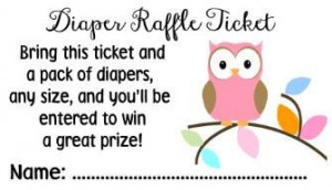 Baby Shower Diaper Raffle Game Owl PINK or BLUE Tickets Cards Party ...