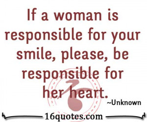 be responsible for woman's heart