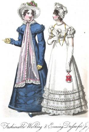 Romantic Era Fashion Plate - July 1823 Ladies' Monthly Museum