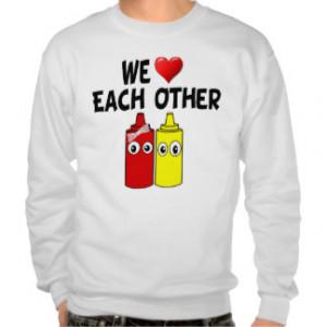 Funny Mustard Ketchup Couple Pullover Sweatshirts