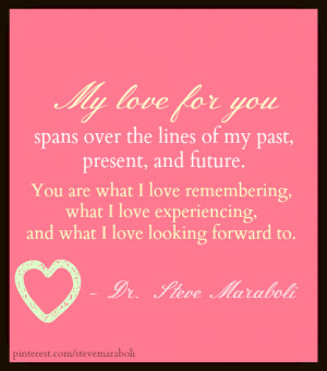 My love for you spans over the lines of my past, present, and future ...