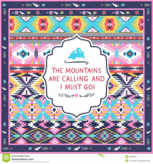 ... Vector: Navajo seamless colorful tribal pattern with quotes on labels
