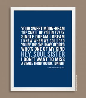 ... Quote Print in Blue, Hey Soul Sister {custom colors & quote / lyrics