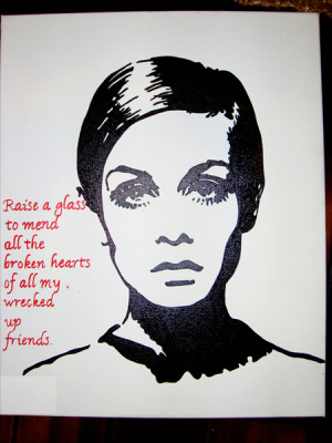 Twiggy painting with Lady Gaga quote