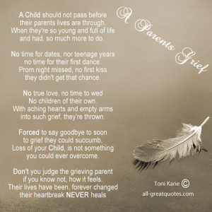 Parents Grief, By Toni Kane - A child should not pass before their ...