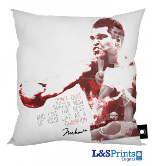 Muhammad Ali Quote' - Don't Quit Cushion