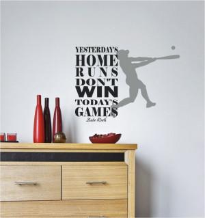 Baseball Babe Ruth Vinyl Decor Wall Subway art Lettering Words Quotes ...