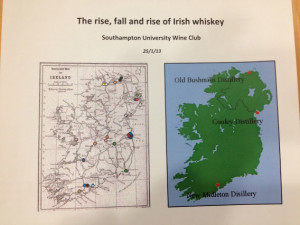 ... time it was the turn of Irish whiskies and the line-up was a good one