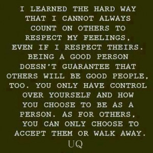 Sometimes you have to walk away.