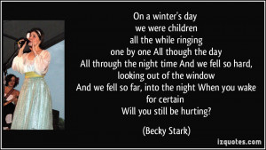 On a winter's day we were children all the while ringing one by one ...