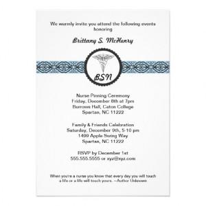 Caduceus Nursing Graduation Invite BLUE with quote