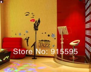 Shipping:2Set/Lot Marilyn Monroe Jazz Music Black Vinyl Wall Quotes ...