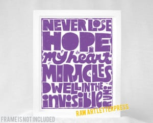 Rumi - Sympathy Gift, Never lose Hope, Miracles, Wall Art, Quote Art ...