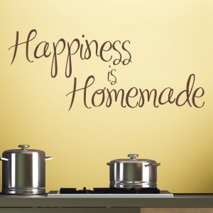 Chocolate Happiness Is Homemade wall decal above a kitchen hob