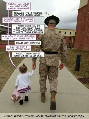 Funny USMC drill sergeant and his daughter