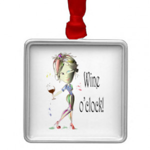 Wine o'clock! Humorous Wine saying gifts Silver-Colored Square ...