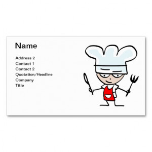 Business card for cooks chefs bakers restaurants