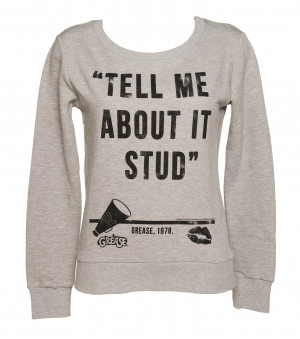 Ladies Grease Tell Me About It Stud Quote Sweater