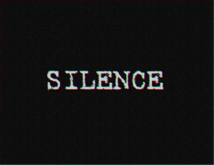 black, black and white, phrase, quote, silence, text