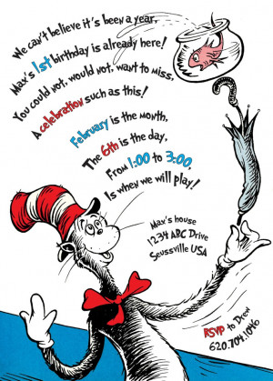 The Cat in the Hat Birthday Invitation. Printable..Dr Seuss ...