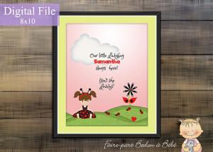 Digital Printable - Personalized Ladybug wall art - Ladybug nursery ...