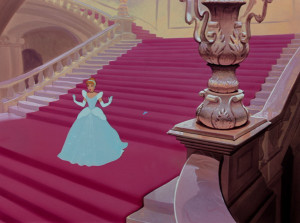 Cinderella fortuitously loses a glass slipper in her rushed getaway ...