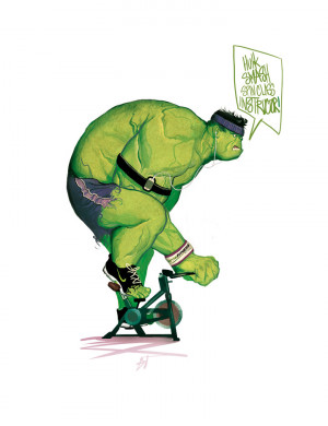 Hulk Smash Spin Class Instructor by deadlymike