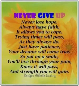 Hope, faith, patience = strength.