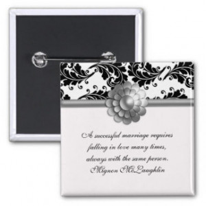 Black and White Damask Marriage Quotes Button