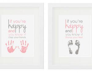 ... Room Handprint Footprint Nursery Art Girls Print Baby Room 11x14