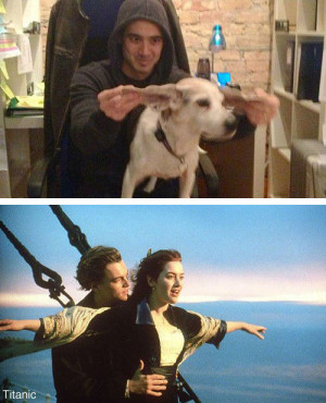 Guy reenacts classic movie scenes with his boss' dog – 10 Pics