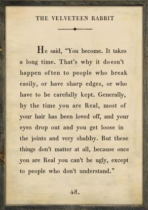 Velveteen Rabbit Quote Vintage Framed Art Print