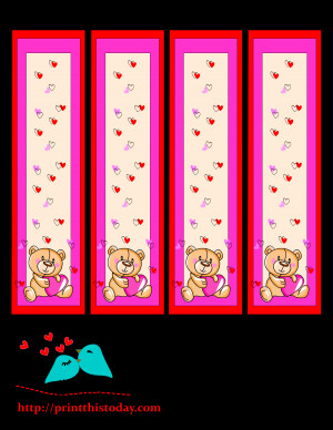 Bookmarks with teddy bear and flowers image